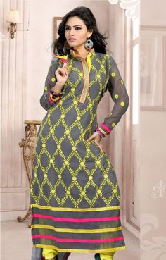 Gray Georgette Embroidered Party Wear Salwar Kameez