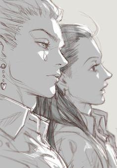Hunter x Hunter: Hisoka and illumi (sarah Hisoka, Killua, Anime Sketch, Art Sketches, Art Drawings, Manga Anime, Anime Art, Manga Drawing, Manga Art