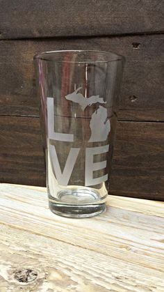 Michigan LOVE Pint Glass by RusticHeartGoods on Etsy, $12.00