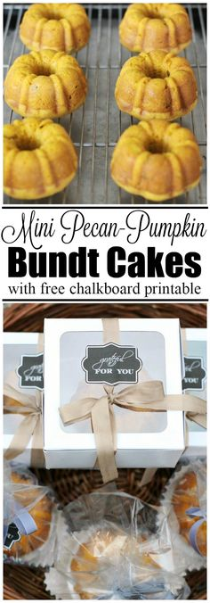 Free chalkboard gift tag and delicious recipe for mini pecan-pumpkin bundt cakes.  These make cute fall hostess gifts or Thanksgiving favors!