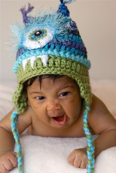 Monster hat   crazy blues by mermaiddesignsstore on Etsy, $28.00