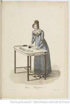 Repasseuse from Georges-Jacques Gatine, Costumes d'ouvrières parisiennes, 1824, BNF Paris