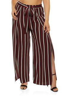 c6ce37ec54 Plus Size Striped Open Leg Palazzo Pants - BLACK - Size 3X