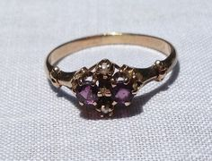 Victorian 10K Gold Amethyst Seed Pearl Ring