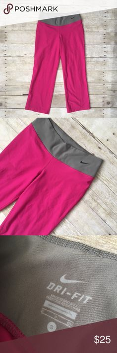 """Nike Hot Pink Athletic Workout Capris Leggings In excellent condition with little wear and no flaws. Stretchy and comfy. Waist: 13"""". Length: 30"""". Reasonable offers welcome Nike Pants Leggings"""