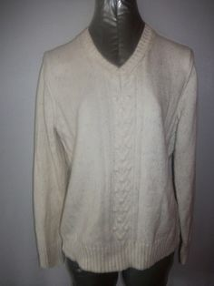 Ivory Pullover Vee Neck Cotton Sweater - Sz L - http://stores.ebay.com/Classy-Fashions-and-Accessories?_trksid=p4340.l2563