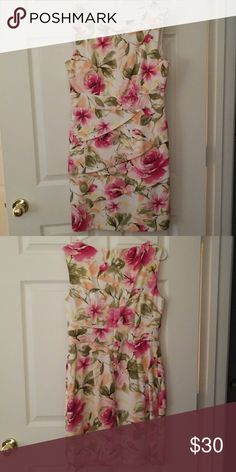 Connected apparel floral dress Very chic floral print sheath dress. Tiered skirt area and figure flattering. Worn once. Great condition! Connected Apparel Dresses Midi
