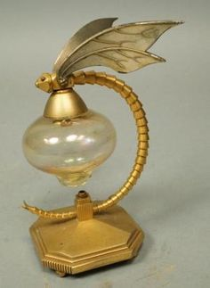 Vintage Dragonfly Perfumer Perfume Bottle. Gilt metal dragonfly with amber glass bottle. Possibly French or Czech. Uniques & Antiques Auctions by Caught my eye