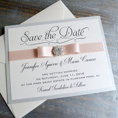 BOW Save The Date - Silver and Blush Save the Date Card with Antique Pink Ribbon and Crystal Button - Custom colors available