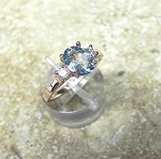 AAA 8x6mm 0.94 ct Natural Blue Aquamarine  with by mastergoldcraft