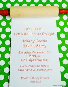 Happy Holiday Baking! Invitation Idea