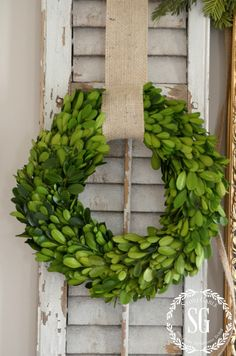 Hang wreaths on shutters year round - green or white