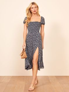 When in doubt, wear a damn dress. This is a midi length dress with a straight neckline, a fully smocked bodice and a side slit. The Inka is slim fitting throughout the bodice with an easy fitting skirt. Mothers Day Dresses, Fashion Prints, Boho Fashion, Dress Outfits, Fashion Dresses, Blue Summer Dresses, Inka, Retro, The Dress