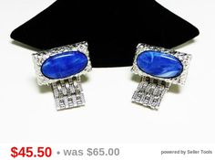 Vintage Dante' Cuff Links - Blue Italian Marble Glass w/ Silverton Rectangle Setting & Flat Wrap Around Design - Vintage Signed Original Box
