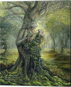 """The Dryad and the Tree Spirit"" - Oil painting by Josephine Wall, a popular English fantasy artist and sculptor. Josephine Wall, Fantasy Kunst, Fantasy Art, Fantasy Images, Beltaine, Oracle Cards, Tree Art, Mythical Creatures, Forest Creatures"