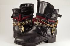 diy: Wrapped Boots- i love boots and this us a way to make them look new More