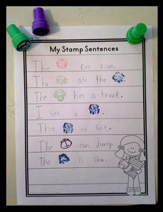 Stamp Sentences: Literacy Center for Pre-K and Kindergarten, rubber stamp, sight word rebus sentences $