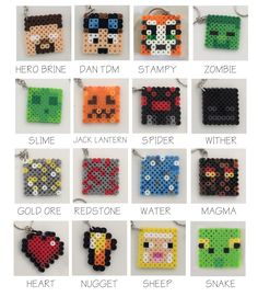 25 x Minecraft inspired keyrings/keychains perler beads  by NinjaMonkeys