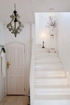 White staircase to b