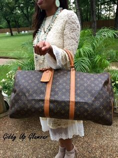 Authentic Used Louis Vuitton Keepall 55 Monogram Duffle Bag with Luggage Tag, Handle Strap and Lock and Key