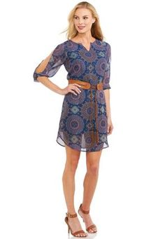 Cato Fashions Belted Cold Shoulder Shift Dress-Plus #CatoFashions