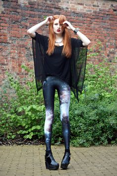 Ebay Heelz, Spike Bracelet, Black Mesh Drapey Top, Black Milk Clothing Galaxy Leggings