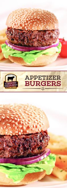 These Certified Angus Beef Brand Appetizer Burgers Aim To Please Made With The Best Ground Chuck And Simply Topped With Lettuce, Onion, And Your Choice Of Condiments, These Burgers Are Deliciously Easy And Perfectly Sized To Serve As An Appetizer Recipe. Best Beef Recipes, Dog Recipes, Favorite Recipes, Wrap Recipes, Hamburger Recipes, Recipies, Delicious Recipes, Boeuf Angus, Angus Beef