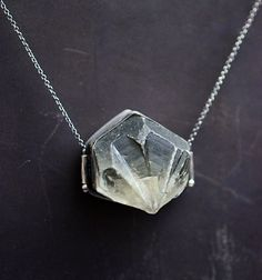in stone...selenite crystal in sterling silver necklace