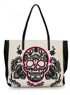 """Sugar Skull"" Tote Handbag by Loungefly (Pink/Black) love love love this!"