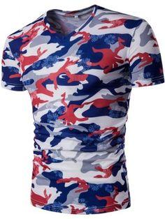 fcf56b64dd Camouflage Printed V-Neck Simple Men s T-Shirt Color Camuflaje