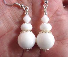 White Beaded Earrings Snow White Glass Beaded by Elegencebyelaine, $22.50