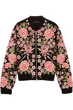 Needle & Thread - Embroidered Embellished Crepe Bomber Jacket - Black