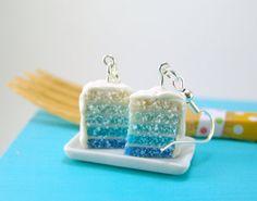 Ombre Earrings Blue Ombre Cake Earrings Food by mousemarket