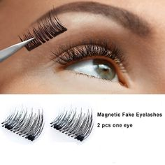 Magnetic Eyelashes 6D False Eyelashes Natural Beauty No Glue Reusable Fake EyeLashes Extension Handmade half eye 4 pcs ** Want to know more, click on the image. (This is an affiliate link) #MagneticEyelashesIdeas