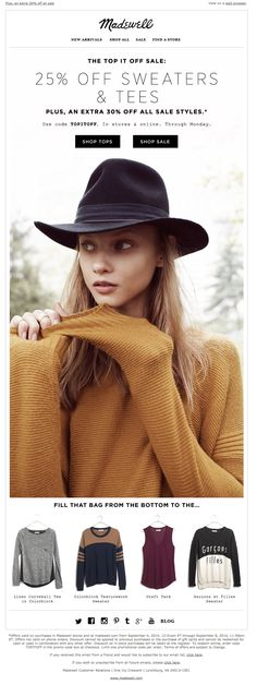 Madewell Newsletter | 25% off sweaters & tees we can't get enough of