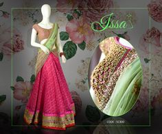 SC800: Pinks and mint make this Lehenga a must wear!!  To order please call/ WhatsApp on 9949944178 or mail us @issadesignerstudio@gmail.com 08 August 2016