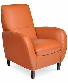 """Aubrey Leather Recliner Chair in """"Terracotta"""" - Macy's.  Comfortable, well-sewn, contemporary look.  Taller back than the Amalfi.  Currently on sale for $650.  Liked this.  Would need to confirm measurements in the living room.  Dimensions: 33""""W x 39""""D x 42""""H."""