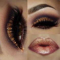 Gold Glitter Dramatic Smokey Eye Makeup - Lashes - Bronze Lips #gold