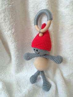 Gnome baby teether baby teething toy baby gift toy by RedOgeeSheep