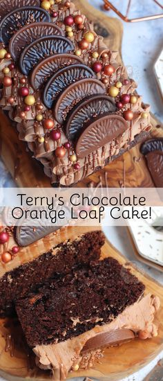 A Delicious and Sweet Terry's Chocolate Orange Loaf Cake studded with Terry's Chocolate Orange Chunks, and a Terry's Chocolate Orange Buttercream Frosting! Chocolate Loaf Cake, Terry's Chocolate Orange, Terrys Chocolate Orange Cake, Chocolate Coffee, Chocolate Desserts, Baking Recipes, Cake Recipes, Dessert Recipes, Janes Patisserie