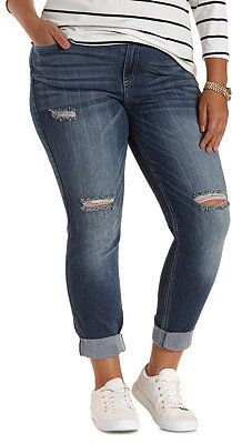 Plus Size Destroyed Boyfriend Jeans