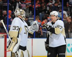 November 6, 2015 at Edmonton: Sidney Crosby and Jeff Zatkoff celebrate the Penguins sixth-consecutive victory. The Pittsburgh goals were scored by Daniel Sprong and Phil Kessel . Final score, 2-1 Penguins.