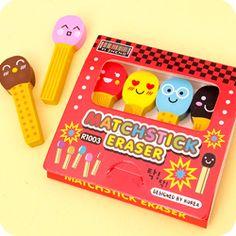 Buy Set of 4 Kawaii Emoji Matchstick Erasers at Tofu Cute