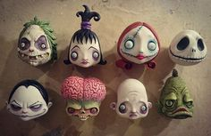 Meet the creeps! #HalloweenHeads #theunusualsuspects #jarheads #Halloween #sculpture #sculpt #horror #drawlloween #Halloween #theaddamsfamily #wednesdayaddams #fester #beetlejuice #lydiadeets #jackskellington #marsattacks #sallynightmarebeforechristmas #nightmarebeforechristmas #creepycute #arttoy #designertoy #thecreaturefromtheblacklagoon #artdoll #pickledcircus