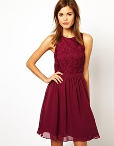 Lace bodice dress in #cranberry