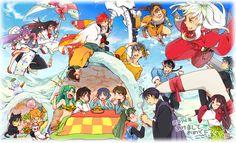 Cross-Over | Anime | Pixiv | InuYasha, Kyokai no Rinne, Ranma ½ , Ursei Yatsura | Ryoga, kagome, Ageha, Lum, Ukyou, Kirara, Tsubasa, Ranma Saotome, Shampoo, Shippo, Miroku, Akane Tendo