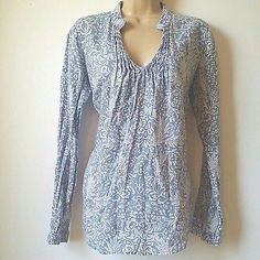 Malvin Hamburg I Love Linen Small Blue White Pintuck Long Sleeve Shirt Tunic A4