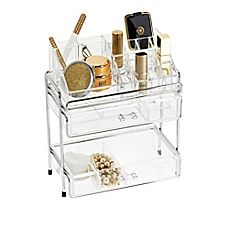 image of Multi-Level Acrylic Cosmetic Organizer in Clear/Chrome $60