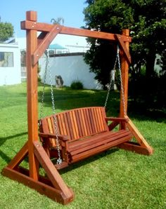 The finest best built Bench Swing Sets on the market. These lovely garden bench swings are truly built to last decades in any weather. Outdoor Wooden Swing, Wooden Swing Bench, Bench Swing, Wooden Swings, Garden Swing Seat, Backyard Swing Sets, Pergola Swing, Wood Swing Sets, Teen Bedroom Designs