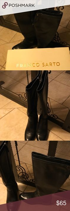 Genuine Leather Boots👢👢👢👢👢👢👢 Beautiful Black genuine leather Franco Sarto Boots, Looks New no wear no tears no stains True to size US 8 comes with original Box👢👢Back of boot has jet black suede like material just above the black leather, Side zipper for easy placement of your foot This Both is stylish, practical along with real leather quality, Franco Sarto Shoes Winter & Rain Boots